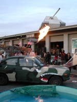 flames, a tank, a party